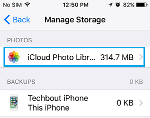 iCloud Photo Library Settings Option on iPhone