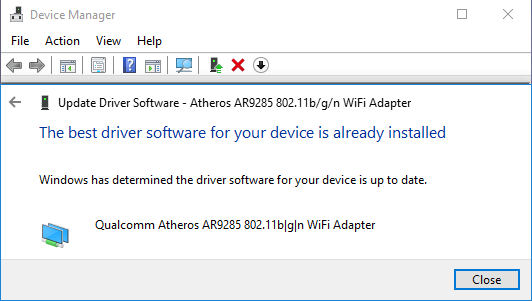 Latest WiFi Driver Software Already Installed Message in Windows 10