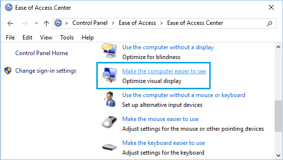 Make the Computer Easier to See Option in Windows 10 Control Panel