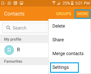 More and Settings on Contacts Screen of Android Phone