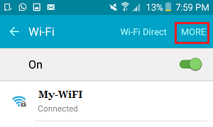 More Option on WiFi Settings Screen on Android Phone