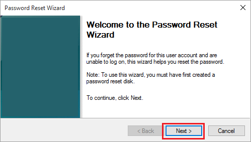 Password Reset Wizard Welcome Screen in Windows 10
