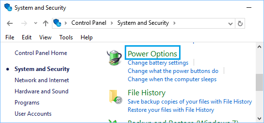 Power Options Tab in Windows 10 Control Panel