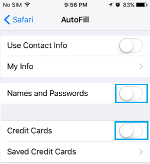 Prevent Safari Browser From Saving Credit Cards and Passwords On iPhone