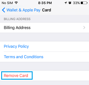 Remove Card From Apple Pay on iPhone