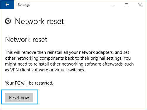 Reset Network Settings in Windows 10
