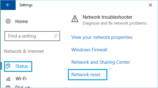 Network Reset Option in Windows