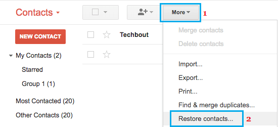 Restore Contacts Option in Gmail