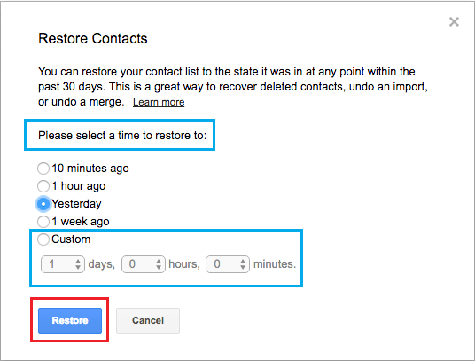Restore Contacts List to Period Option in Gmail