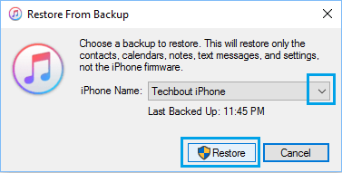 Restore From Backup pop-up in iTunes