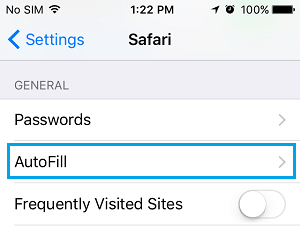 Safari AutoFill Option on iPhone