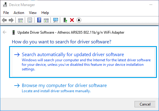 Allow Windows to Search Automatically For WiFi Driver Software Option in Windows 10