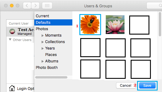 Select Profile Picture From Defaults or Photos Library