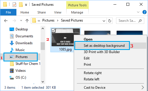 Set Desktop Background Using Contextual Menu in Windows 10