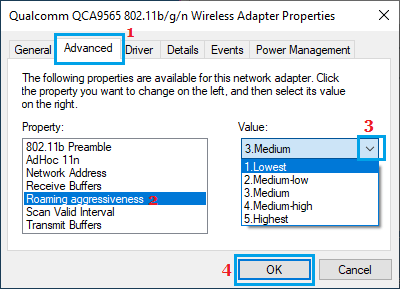 Set Roaming Aggressiveness For WiFi Network