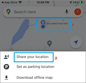 Share Parking Location Option in Google Maps