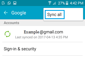 Sync All Contacts From Gmail Option on Android Phone