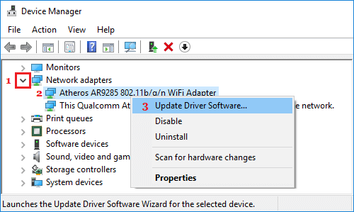 Update WiFi Adapter Driver Software In Windows 10