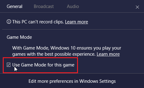 Use Game Mode for This Game Option in Windows 10