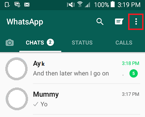 WhatsApp 3 Dots Menu Icon on Android Phone