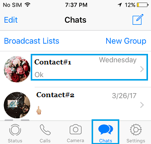 Contacts on WhatsApp Chats screen on iPhone