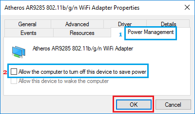 WiFi Adapter Power Management Options in Windows 10