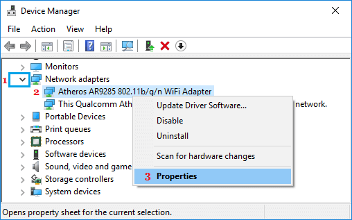 WiFi Adapter Properties Option in Windows 10 Device Manager Screen