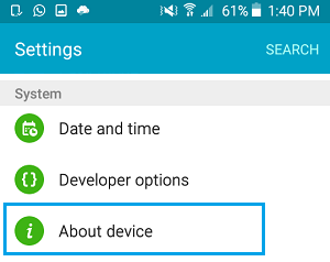 About Device Option on Android Phone