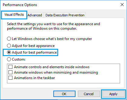 Adjust For Best Performance Option in Windows 10