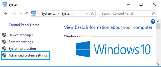 Advanced System Settings Option in Windows 10