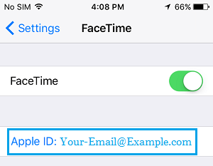 Apple ID on FaceTime Settings Screen
