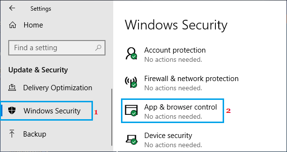 Apps and Browser Control Option in Windows Defender