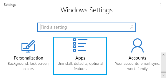 Apps Icon on Settings Screen in Windows 10