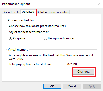 Change Virtual Memory Settings Option in Windows 10