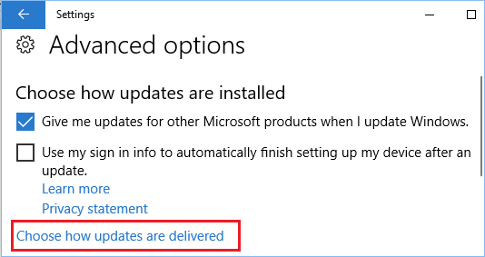 Choose How Updates Are Delivered Option in Windows 10