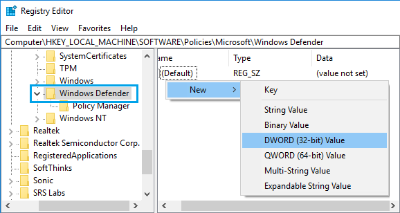 Create New Registry Key in Windows Defender Folder