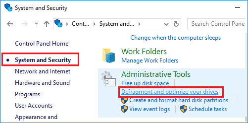 Defragment and Optimize Drive Option in Windows 10