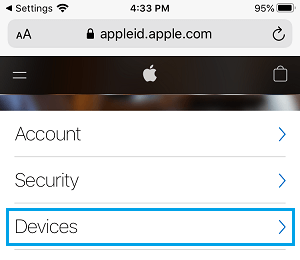 Devices Tab on Apple ID Account Screen