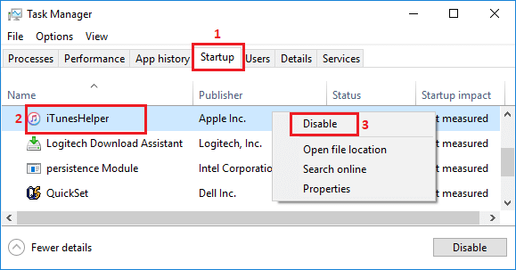 Disable Startup Programs in Windows 10 Task Manager Screen