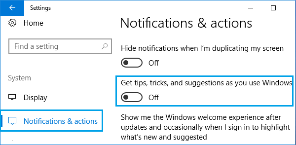 Disable Get tips, tricks and suggestions as you use Windows Option
