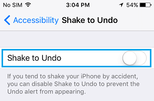 Disable Shake to Undo Option On iPhone