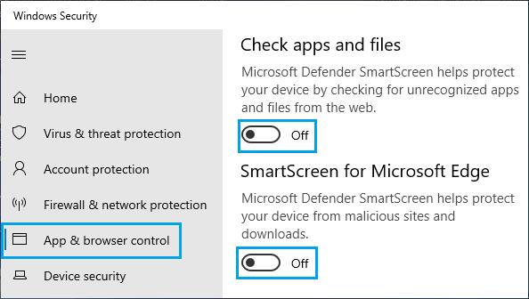 Turn OFF SmartScreen Filter on Windows PC