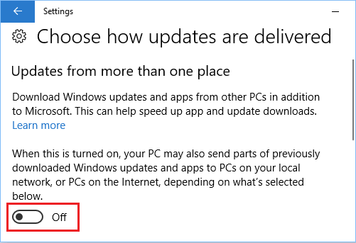 Disable Updates From More Than One Place in Windows 10