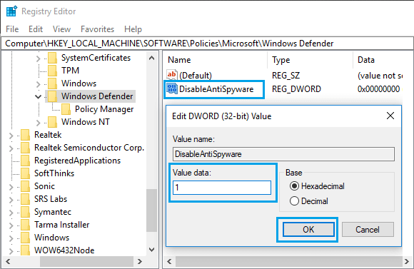 Enable or Disable Windows Defender