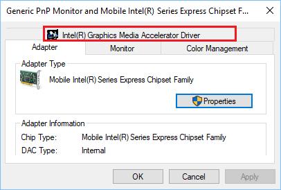 Graphics Media Driver Tab in Windows 10