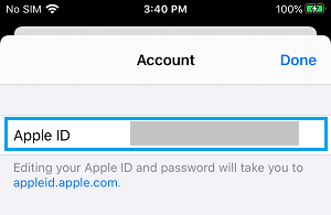 Apple ID on Account Screen