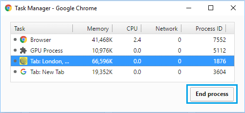 End Process in Chrome Task Manager