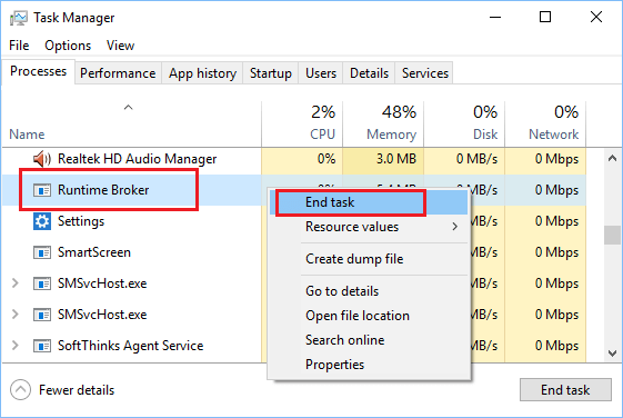 End Runtime Broker Process in Task Manager
