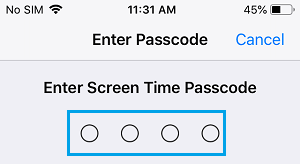 Enter Screen Time Passcode On iPhone