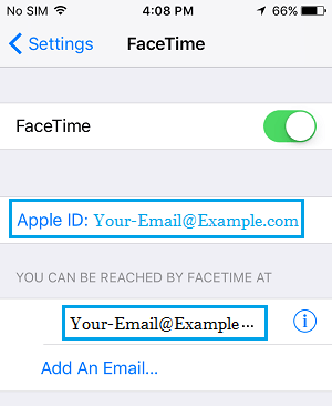 Apple ID and FaceTime Email Address On iPhone